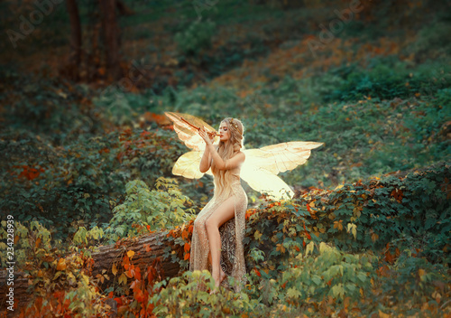Fotomural  lovely girl druid with blond long hair, sits on a fallen tree, dressed in a gorg