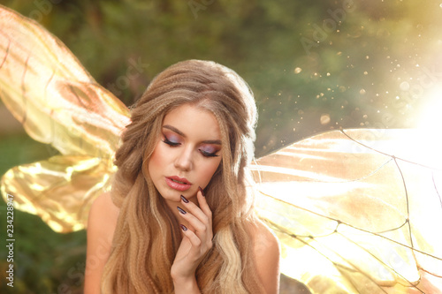 gorgeous young enchantress with transparent wings and blond hair with beautiful Poster Mural XXL