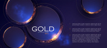 Abstract Overlapping Circles Background With Gold Glitter Effect.