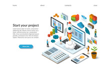 Business Startup Isometric Concept. Rocket Launch From The Laptop. Landing Page Template. Flat Design 3d Vector Illustration Of A Team Working On A New Project.