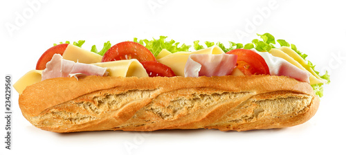 Staande foto Snack Baguette sandwich isolated on white background