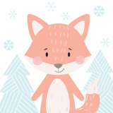 Fox baby winter print. Cute animal in snowy forest christmas card. - 234229716
