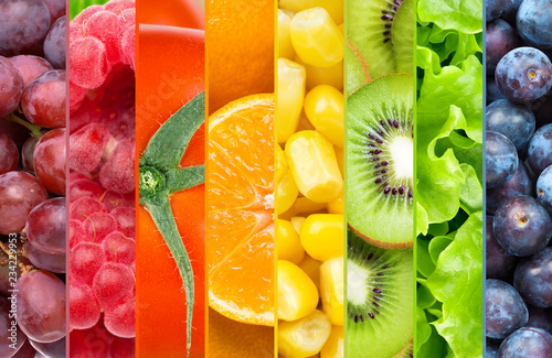 Fototapeta Background of color fruits and vegetables obraz