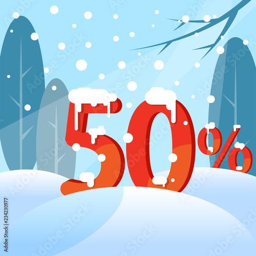 Fotografia  A discount fifty percent. Figures in the snow