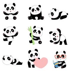 Panel Szklany Panda Cute panda characters. Chinese bear newborn happy pandas toy vector mascot design isolated. Illustration of panda toy, bear animal black white