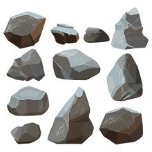 Stones Cartoon. Rock Mountains Flagstone Rocky Vector Illustrations Isolated On White Background. Stone Rock Of Set, Material Granite Natural