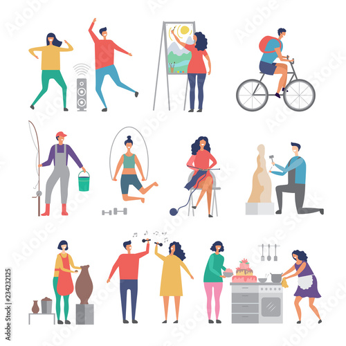 Male and female hobbies. People working love gardening cooking painting hobby occupation vector characters. Illustration of male and female hobby, drawing cooking and artistic Wall mural