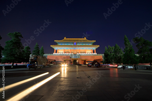 Night view of the Shenwu Gate Tower in the Forbidden City, Beijing, China