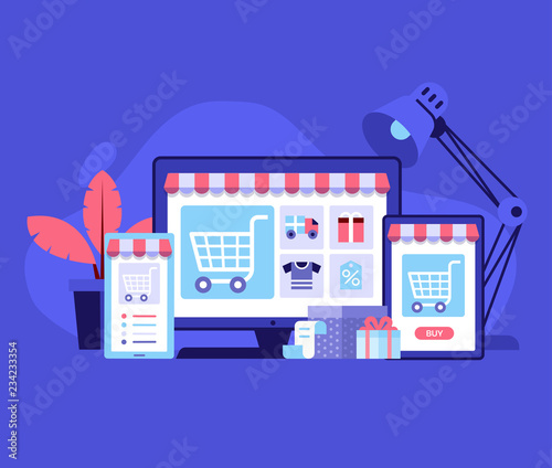 Internet Shopping Concept With Device Screens Online Digital Store Application Banner In Flat Design E Commerce Advertising Illustration With Shopping Cart And Goods Order Online Background Buy This Stock Vector And Explore