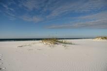 Clean Empty White Sand Beach And Sand Dunes On Okaloosa Island, Florida Gulf Coast.