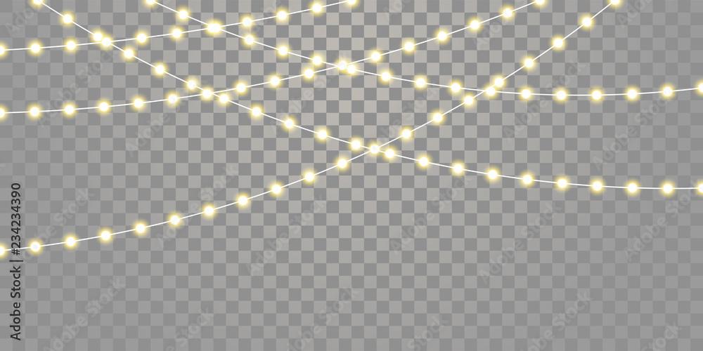 Fototapeta Christmas lights vector isolated strings. Holiday celebration Xmas, birthday or festival lamp lights on transparent background