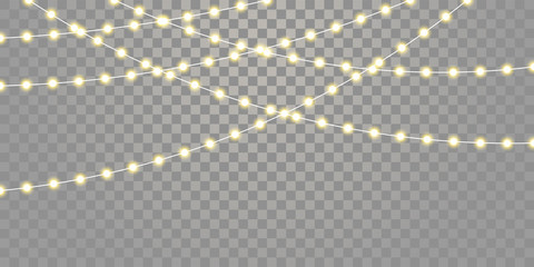 Christmas lights vector isolated strings. Holiday celebration Xmas, birthday or festival lamp lights on transparent background