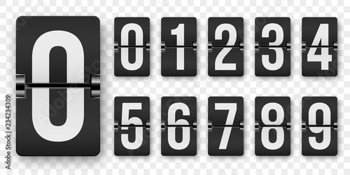 Fototapeta Countdown numbers flip counter vector isolated set