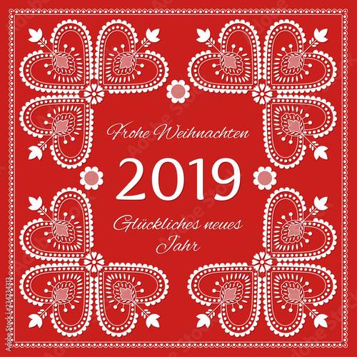 Fotografija  Folk art Holiday card vector template
