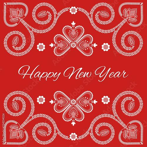 Fotografija  Folk art Happy New Year card vector template