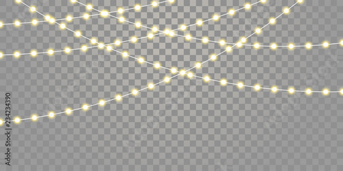 Christmas lights vector isolated strings Wallpaper Mural