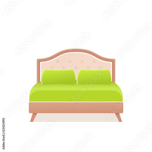 Bed Vector Double Wooden Bed In Flat Design For Bedroom Hotel