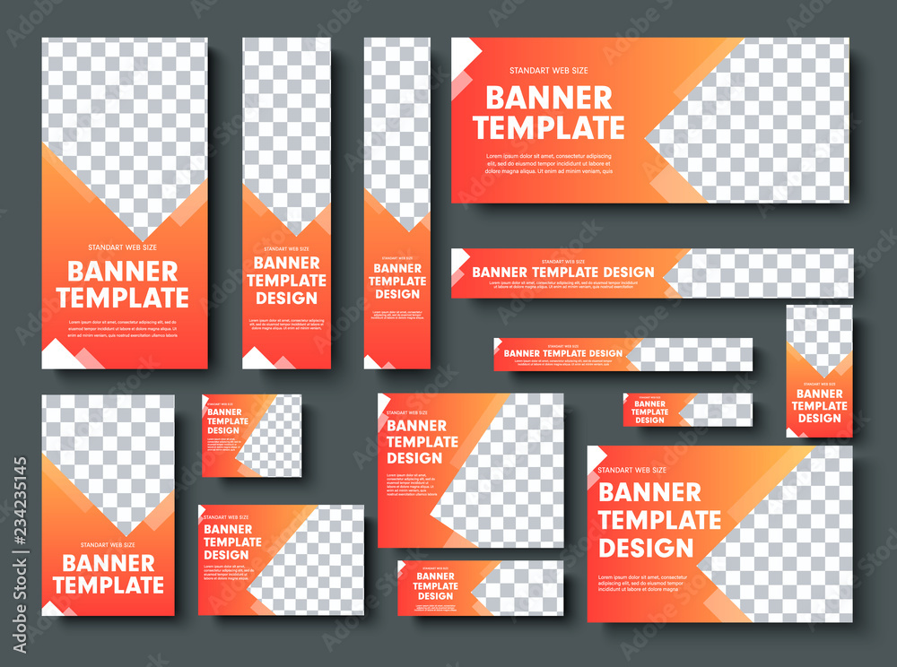 Fototapeta Set of orange yellow vector web banners with place for photo.