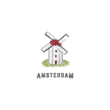 Windmill Logo Icon Hand Drawing Traditional Vintage Classic Style