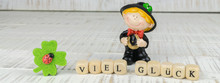 Little Chimney Sweeper With A Horseshoe In His Hands, Wooden Cubes With The German Words For Good Luck, Banner