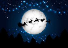 Happy Christmas And New Year Concept Santa On The Moon Background Vector