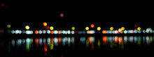 Light Night At City Bokeh Blur Abstract Background. Blue Black Focus Flare