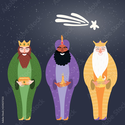 Spoed Fotobehang Illustraties Hand drawn vector illustration of three kings of orient with gifts, star. Isolated objects on dark background. Flat style design. Concept, element for Epiphany card, banner.