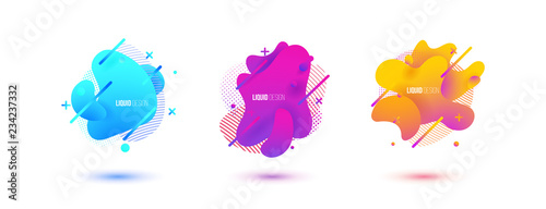 Abstract design set of liquid shapes - 234237332