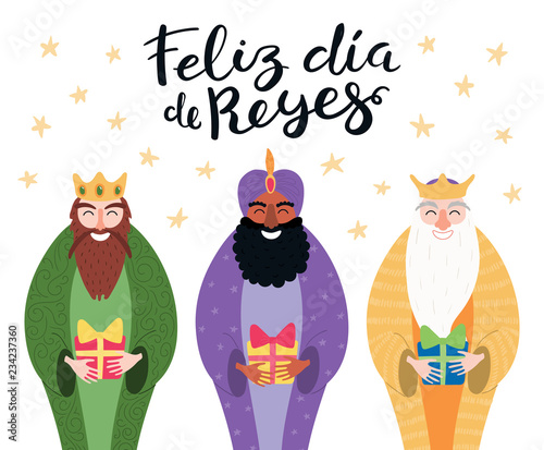 Cuadros en Lienzo Hand drawn vector illustration of three kings with gifts, Spanish quote Feliz Dia de Reyes, Happy Kings Day