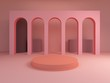 Scene with geometrical forms, arch with a round podium in pastel and pink colors, minimal background, pastel platform, 3D render