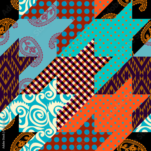 Photo  Patchwork textile pattern. Seamless quilting design background.