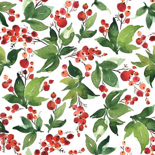bozenarodzeniowy-akwarela-bezszwowy-wzor-z-uswieconymi-i-czerwonymi-jagodami