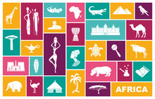Traditional Symbols Of Africa. Flat Vector Icons