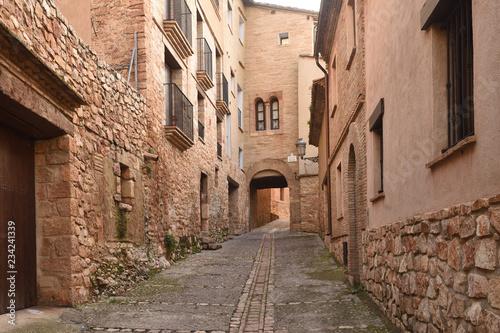 street of  medieval village of Alquezar, Somontano, Huesca province, Aragon,Spain