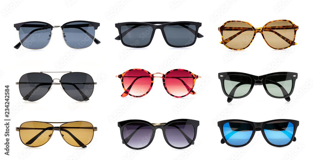 Fototapeta Group of beautiful sunglasses isolated on white background. Costume Fashion.