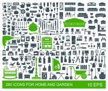 Big Set Of Quality Icons Household Items. Furniture, Kitchenware, Appliances, Child Care, Garden