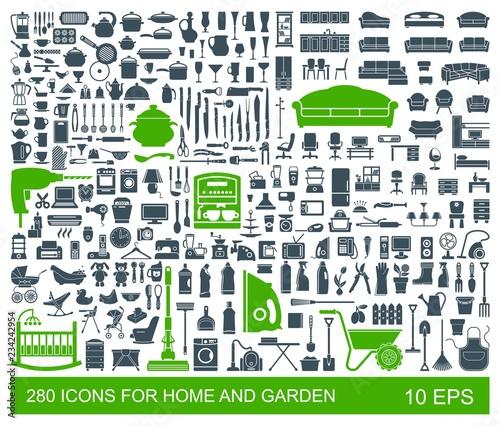 Fotografia Big set of quality icons household items