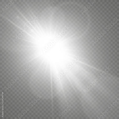 Fototapeta Light sources, concert lighting, spotlights. Concert spotlight with beam, illuminated spotlights for web design illustration. obraz na płótnie
