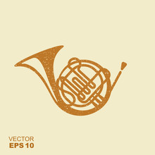 Golden French Horn Icon. Flat Icon With Scuffed Effect In A Separate Layer