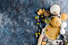 Baking Easter  Background With Dough  And Ingredients