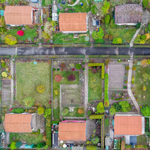 Fotografia  Vertical aerial view of an allotment garden with huts, paths and vegetable beds