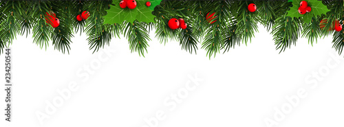 Valokuva Horizontal Christmas border frame with fir branches, pine cones, berries