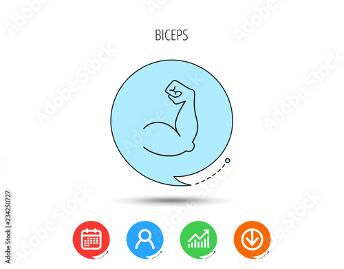 Biceps muscle icon. Bodybuilder strong arm sign. Fotobehang