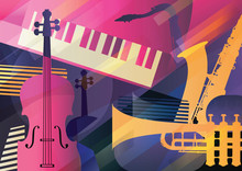 Abstract Jazz Art, Music Instruments, Trumpet, Contrabass, Saxophone And Piano.