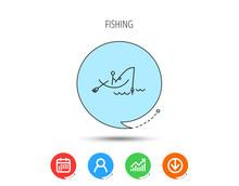 Fishing Icon. Fisherman On Boat Sign.