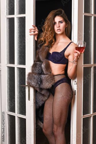 a63bbf09e9d Fashion lady enjoy her seductiveness. Woman seductive appearance. Confident  in her magnetism. Woman seductive model wear luxury fur and elite lingerie