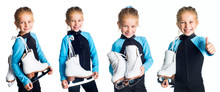 Set Of Little Smiling Blond Girl In A Sportsuit With Iceskates On A Sholder Isolated On White Background