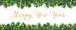 Banner with Happy New Year calligraphy. Christmas tree frame, garland with ornaments