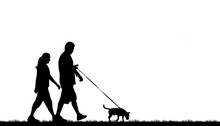 Silhouette Of A Couple Walking Their Dog On White Background