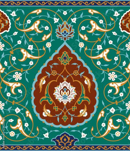 Islamic Floral Seamless Border.